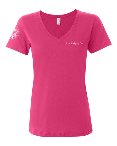 Ladies V-Neck Tee - RISE LODGING