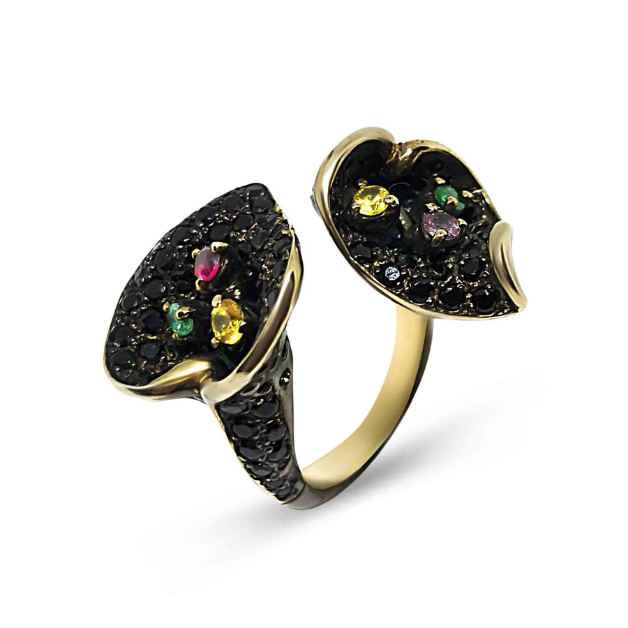 Black Lily Unique Ring with Black Spinel, Sapphire, Amethyst & Emerald