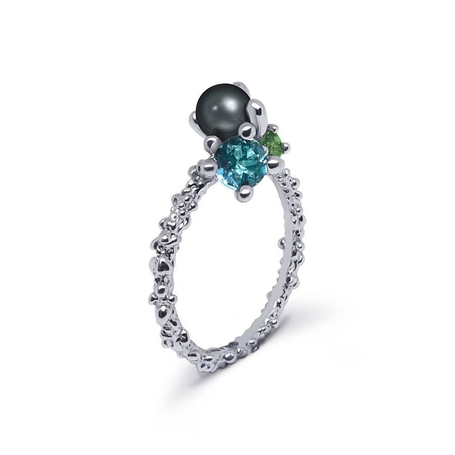 Coral Unique Ring with Black Pearl & Blue Topaz