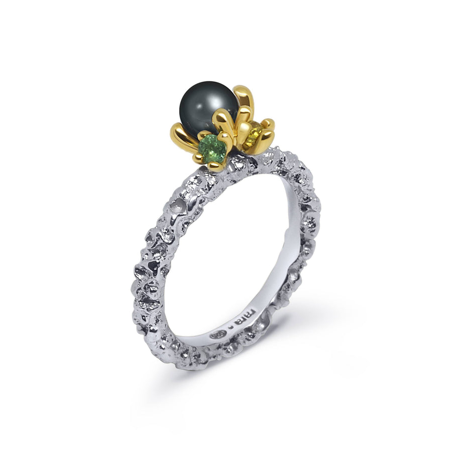 Sierra Unique Ring with Black Pearl Citrine & Emerald
