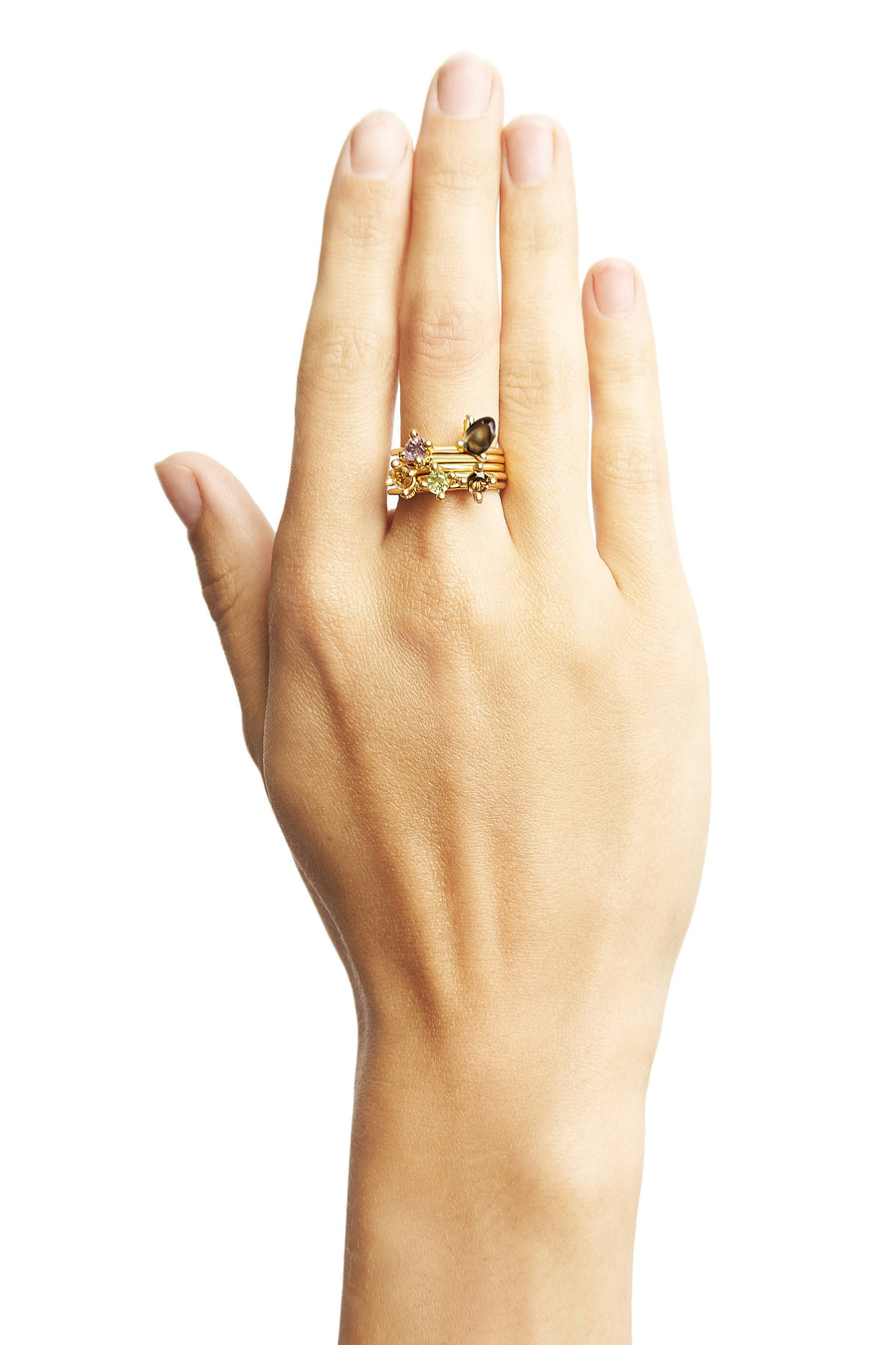 Set of Gold Plain Stacking Rings