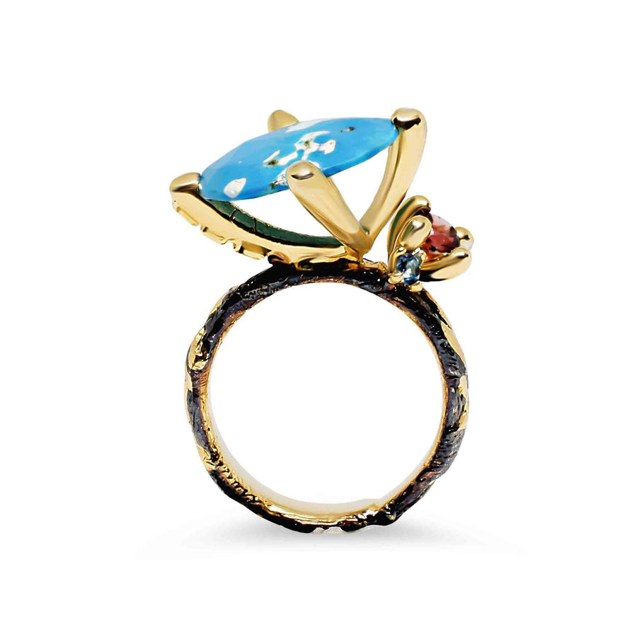 Embrace Unique Ring with Turquoise, Garnet & Sapphire