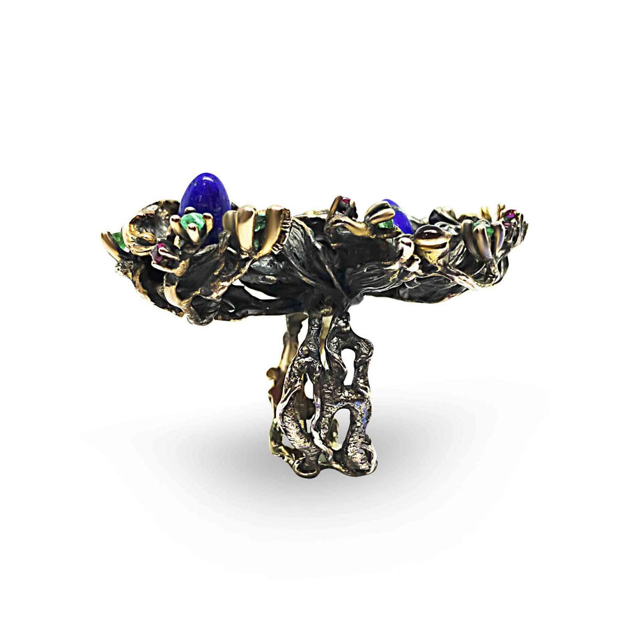 Garden in Bloom Unique Ring with Lapis Lazuli, Emeralds & Diamonds
