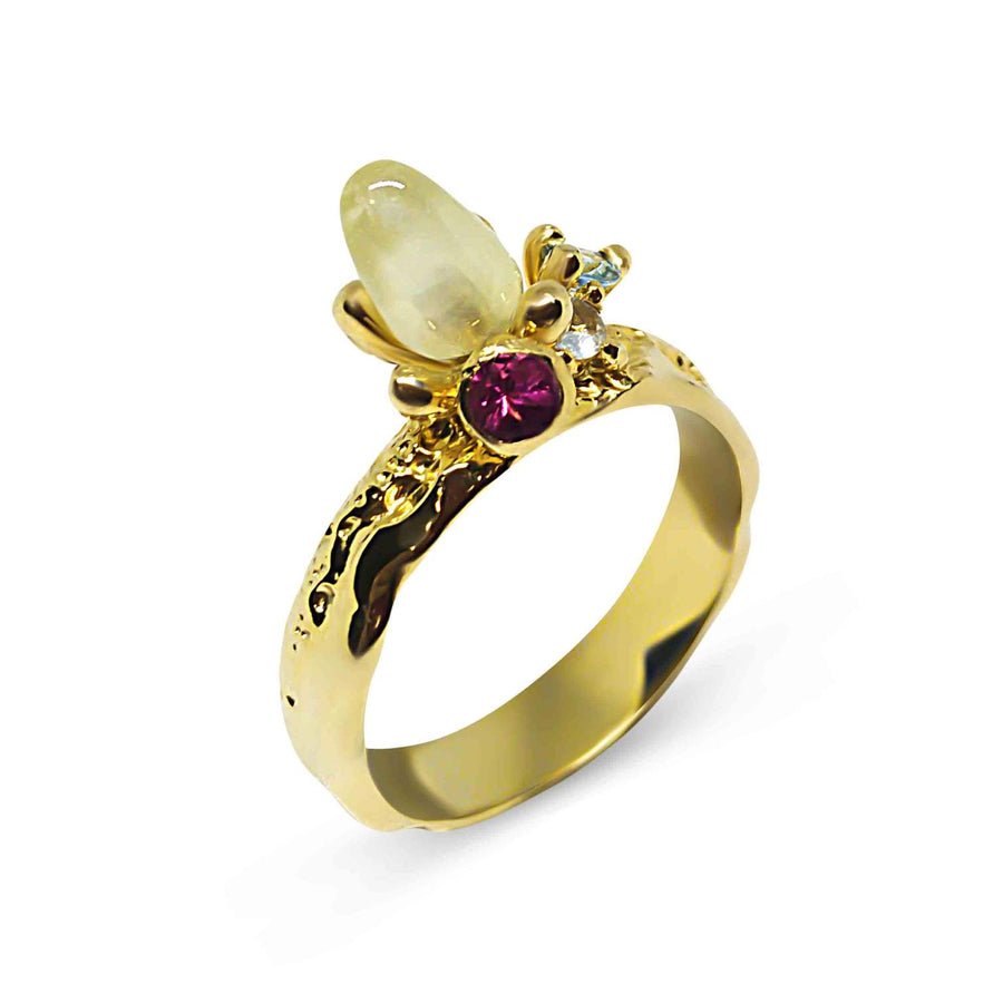 Golden Compass Unique Ring with Quartz & Tourmalines