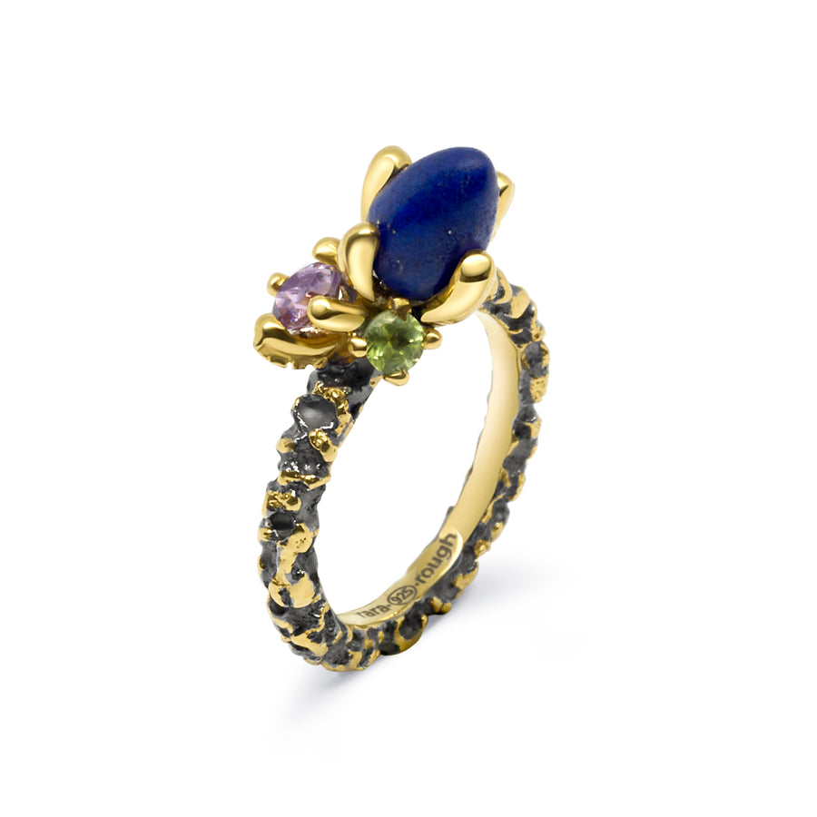 Sierra Unique Ring with Lapis Lazuli, Amethyst & Peridot
