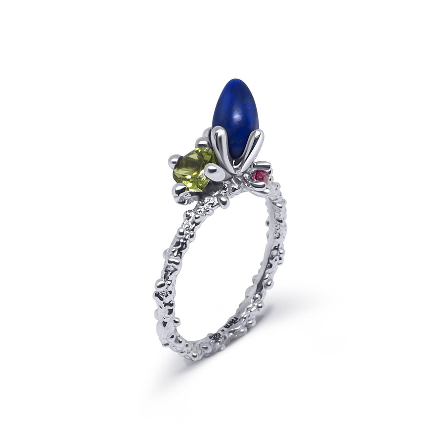 Coral Unique Ring with Lapis Lazuli & Peridot