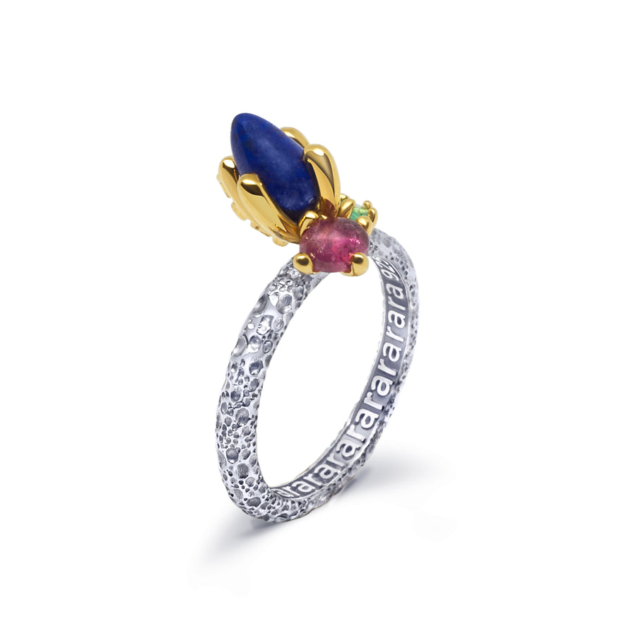 Grit Unique Ring with Lapis Lazuli Pink Tourmaline & Emerald