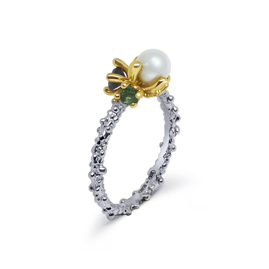 Coral Unique Ring with White Pearl Topaz & Emerald