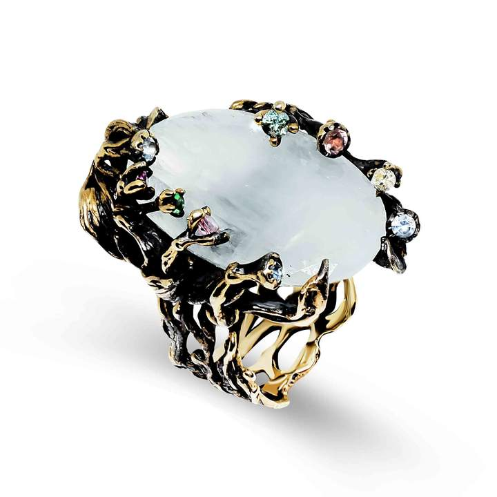 Rare Treasure Unique Ring with Aquamarine, Tourmalines, Sapphires, Emerald & Diamond
