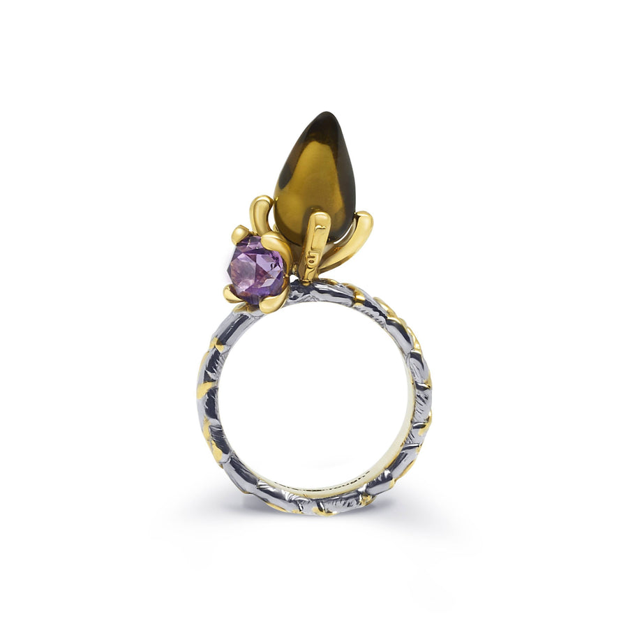 Shell Unique Ring with Rauch Topaz Amethyst & Peridot