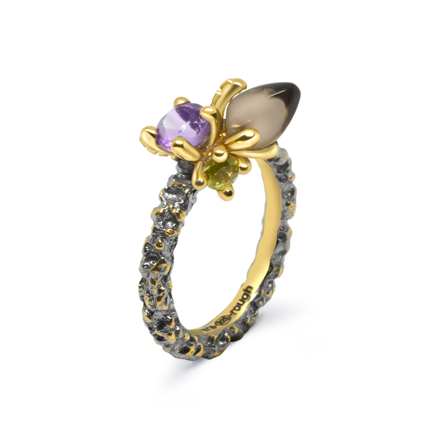 Sierra Unique Ring with Rauch Topaz Amethyst & Citrine