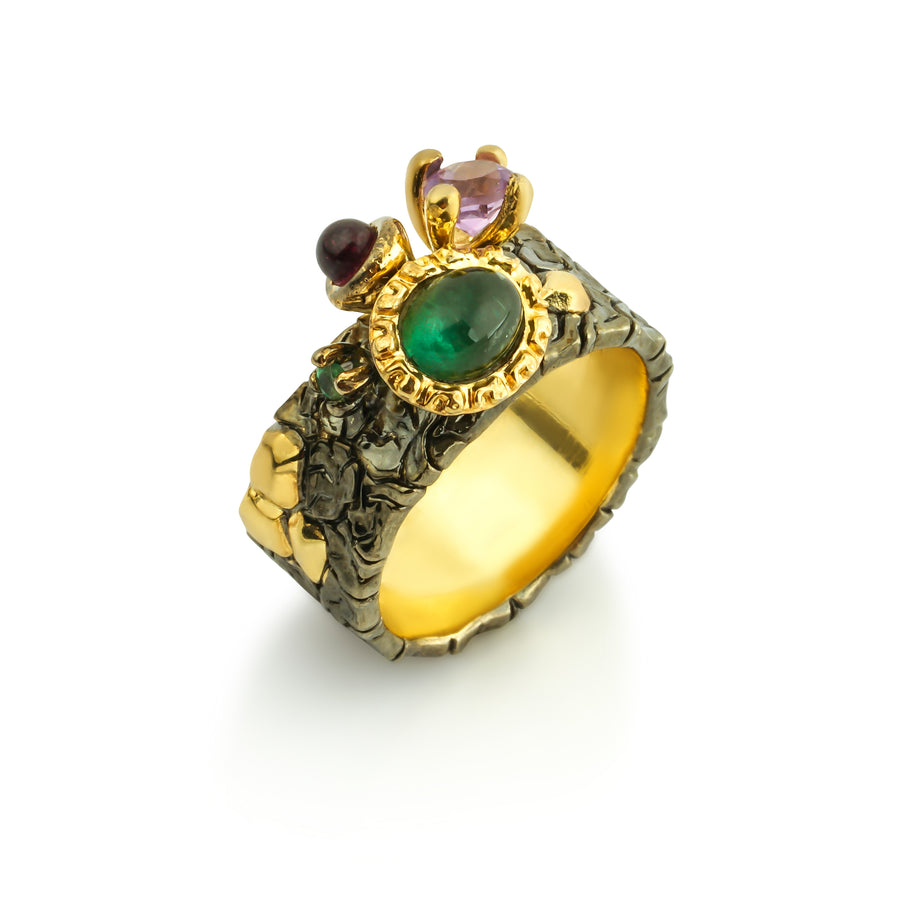 Underneath the Earth Unique Ring with Green Tourmaline, Amethyst & Emerald