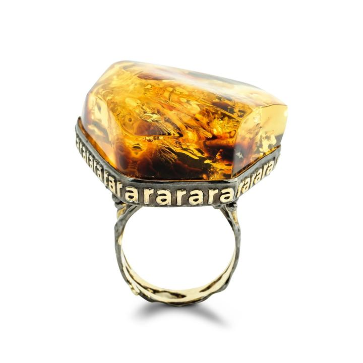 Underneath the Earth Unique Ring with Amber