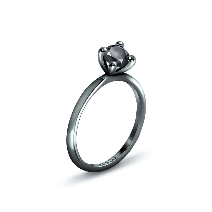 Black Plain Stacking Ring