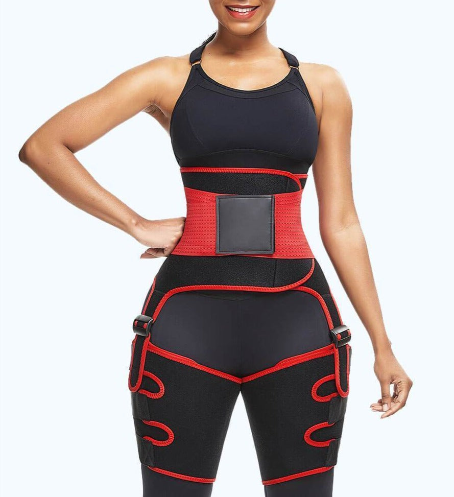 POWERWAVY 3 In 1 Ultra Sweat Waist and Thigh Trimmer | Booty Sculptor | Butt Lifter - Valusu
