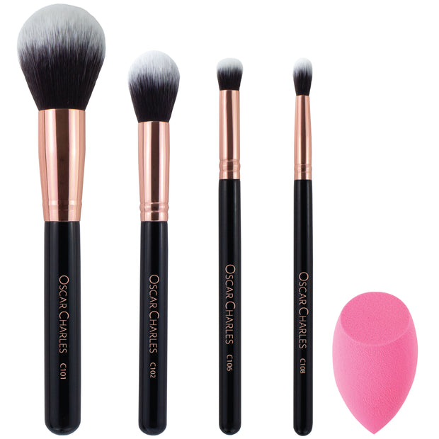 Oscar Charles Essential Luxe Makeup Brush Set. Rose Gold/ Black