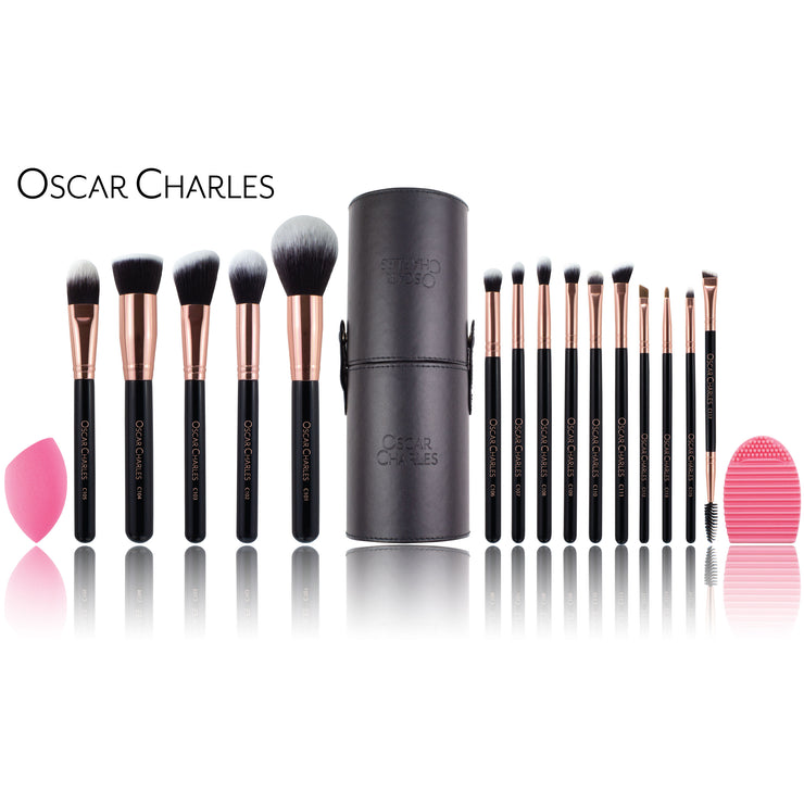 Oscar Charles Luxe Professional Makeup Artist Brush Set Rose Gold/Black