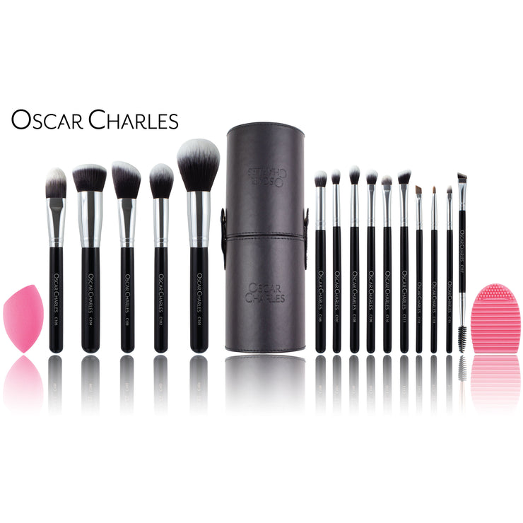 Oscar Charles Luxe Professional Makeup Artist Brush Set Silver/Black