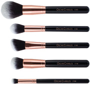 Oscar Charles 8 Piece Luxe Professional Makeup Brush Set & Luxury Cosmetic Bag. Rose Gold/Black