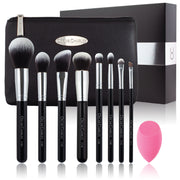 Oscar Charles 8 Piece Luxe Professional Makeup Brush Set & Luxury Cosmetic Bag. Silver/Black