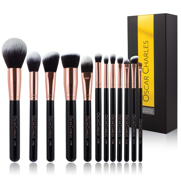 Oscar Charles Luxe Professional 12 Piece Makeup Brush Set, Rose Gold/Black