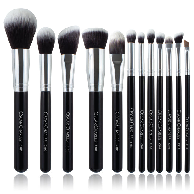 Oscar Charles Luxe Professional 12 Piece Makeup Brush Set, Silver/Black