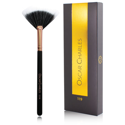Oscar Charles 119 Luxe Small Duo Fan Makeup Brush Rose Gold/Black