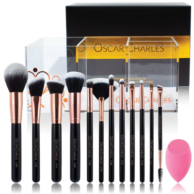 Oscar Charles Luxe Radiance Pro 12 Piece Set &  Holder Rose Gold/Black