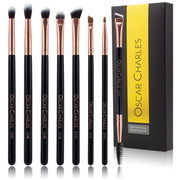 Oscar Charles 8-Piece Professional Eye Makeup Brush Set - Rose Gold /Black