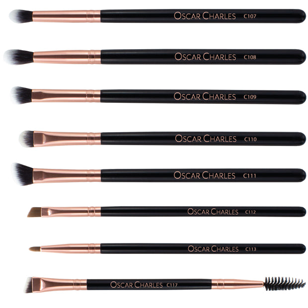 Oscar Charles Luxe Professional 8 Piece Eye Makeup Brush Set in Gift Box Rose Gold Black