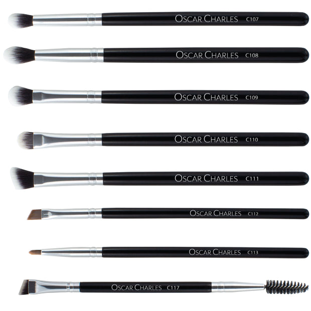 Oscar Charles 8-Piece Professional Eye Makeup Brush Set - Silver /Black