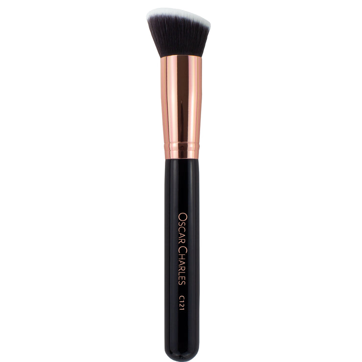Oscar Charles 121 Luxe Angled Buff Makeup Brush Rose Gold/Black