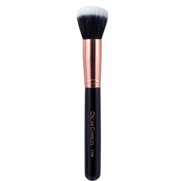 Oscar Charles 120 Luxe Stipping Duo Makeup Brush Rose Gold/Black