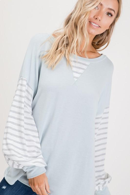 CORA DUST BLUE TOP WITH STRIPED BALLOON SLEEVES