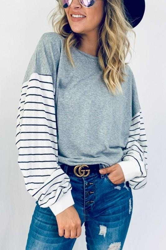 REESE STRIPED SLEEVES TOP (CURVE COLLECTION)