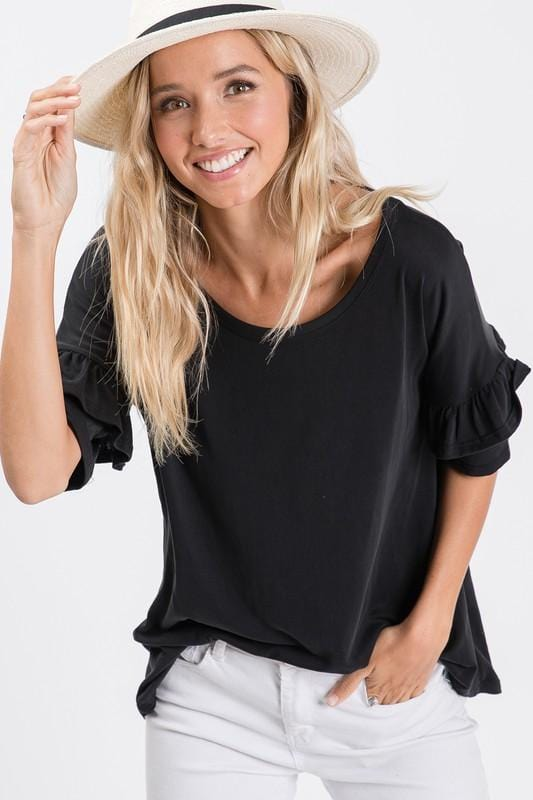 HAILEY RUFFLE SLEEVE TOP