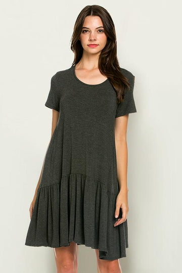 LOLA RUFFLE BOTTOM JERSEY KNIT DRESS
