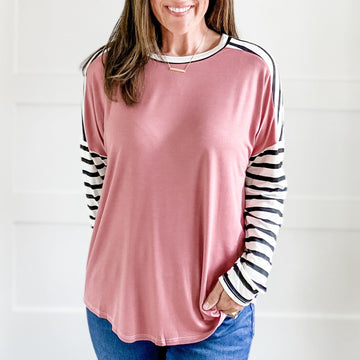 HANNAH STRIPED SLEEVES TOP (DUSTY ROSE)