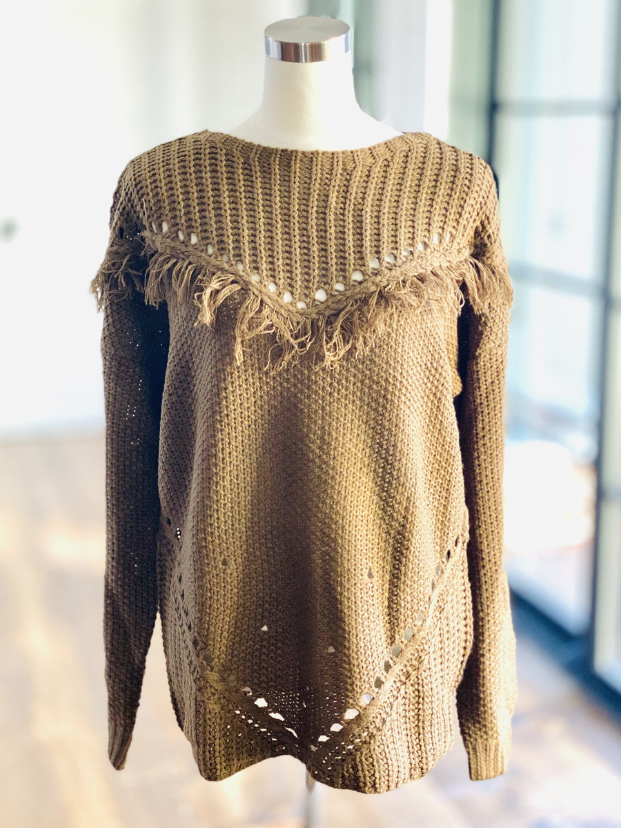 MOLLY DISTRESSED FRINGE SWEATER