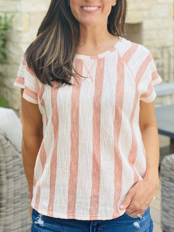 LIV CORAL STRIPE TOP