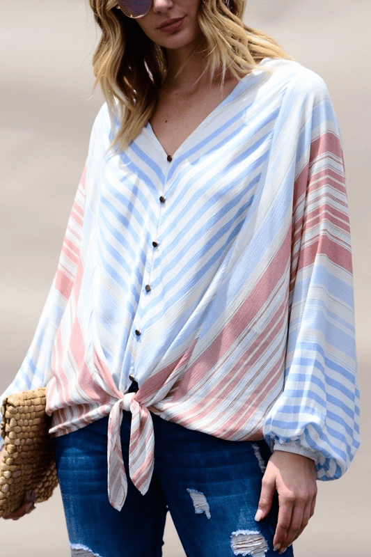CALLIE MUTLI-STRIPED DOLMAN TOP