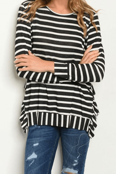 KATIE STRIPES WITH SIDE RUFFLE