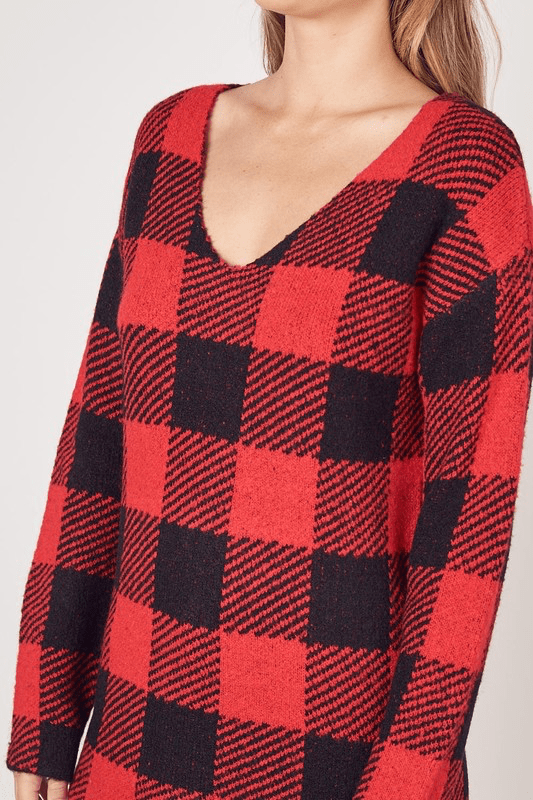 RED & BLACK BUFFALO PLAID SWEATER