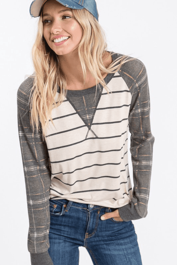 PLAID RAGLAN SLEEVE & STRIPES