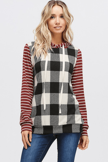 HANNAH PLAID AND STRIPES HOODIE