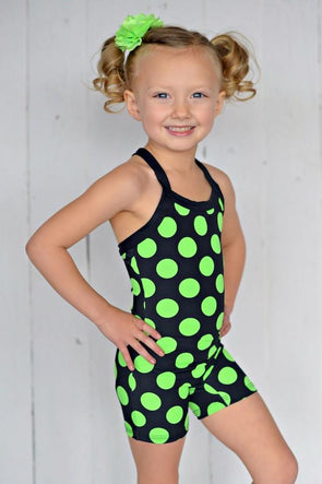 Bootitard BLACK WITH NEON GREEN MEGA POLKA DOT