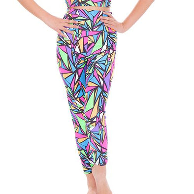 Print High Waist Leggings ABSTRACT PRINT