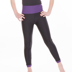 High Waist Leggings With Trim DEEP PURPLE