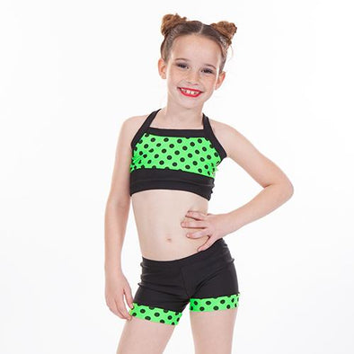 Two Piece Crop Set NEON GREEN POLKA DOT