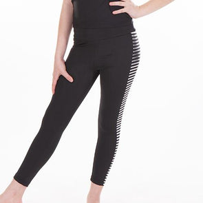 Print High Waist Leggings FOIL SILVER STRIPE